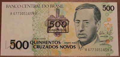 Бразилия 500 новых крузадо 1990 год