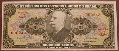 Бразилия 5 крузейро 1953-1960 год