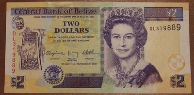 Белиз 2 доллара 2011 год