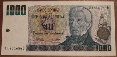 Аргентина 1000 песо 1983-1985 год