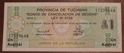 Аргентина 1 аустраль 1991 год провинция Тукуман