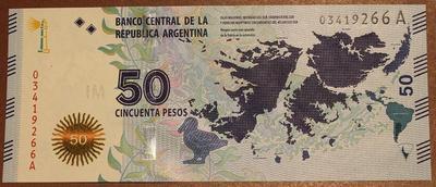 Аргентина 50 песо 2015 года - Защита Мальвинских Островов