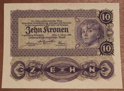 Австрия 10 крон 1922 год