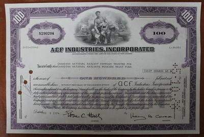 США.Акция ACF Industries,incorporated 100 акций