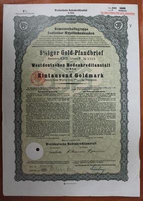 Германия. Акция 1000 марок 1929 год