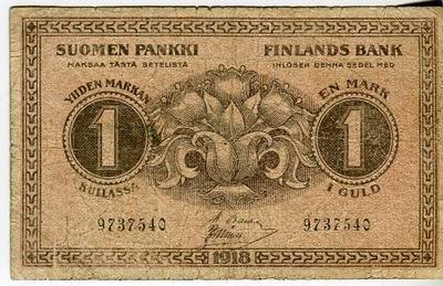 Финляндия 1 марка 1918 год