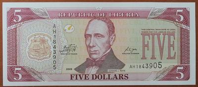Либерия 5 долларов 2009 год