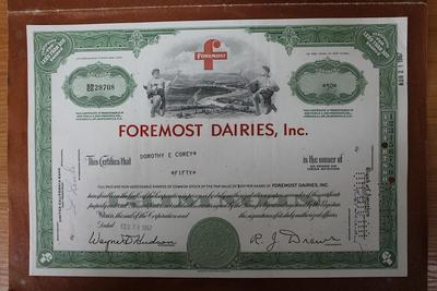 США.Акция Foremost Dairies, inc