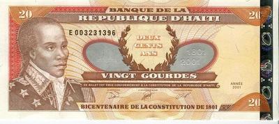 Гаити 20 гурд 2001 год 200 лет Конституции UNC