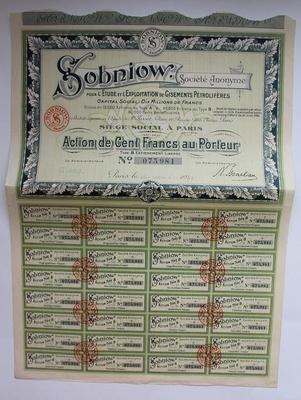Акция Sobniow 100 франков