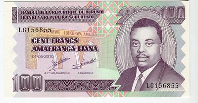 Бурунди 100 франков 2010 год