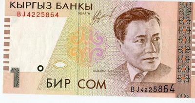 Киргизия 1 сом 1999 год