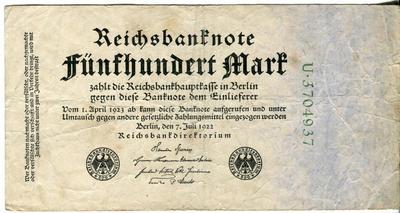 Германия 500 марок 1922 год