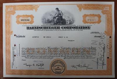 США.Акция Harnischfeger corp.