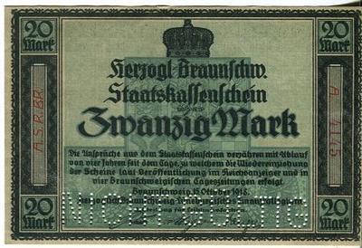 Германия 20 марок 1918 год (Брауншвейг)