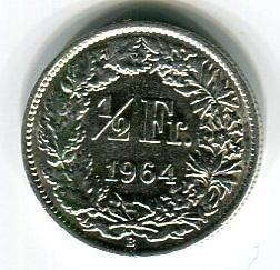 Швейцария 1/2 франка 1964 год
