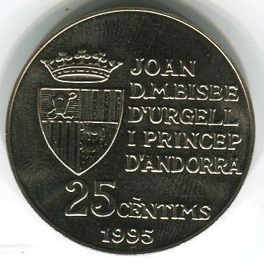 Андорра 25 сентим 1995 год 50 лет ФАО