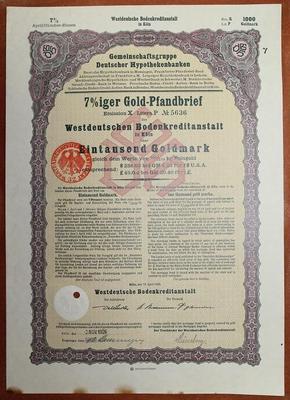 Германия. Акция 1000 марок 1926 год