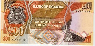 Уганда 200 шиллингов 1987 год