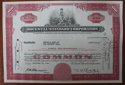 США.Акция Rockwell-Standard Corporation