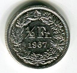 Швейцария 1/2 франка 1967 год
