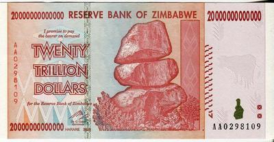Зимбабве 20 триллионов долларов 2008 год