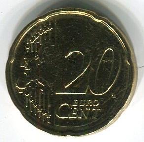Латвия 20 евроцентов 2014 год