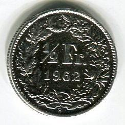 Швейцария 1/2 франка 1962 год
