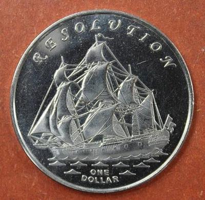 острова Гилберта 1 доллар 2014 год Парусник Резолюшн