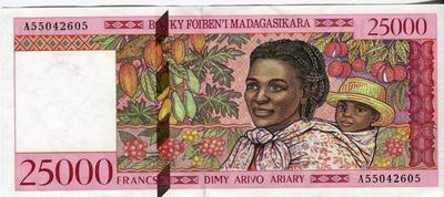 Мадагаскар 25000 франков 1998 год