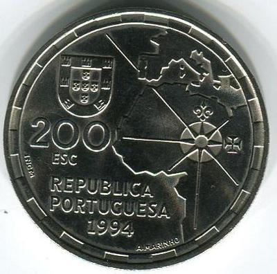 200 эскудо 1994 год Раздел Мира между Испанией и Португалией в 1494