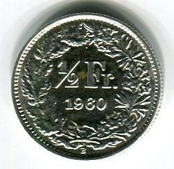 Швейцария 1/2 франка 1960 год