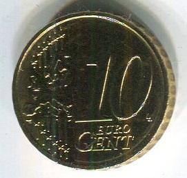 Латвия 10 евроцентов 2014 год