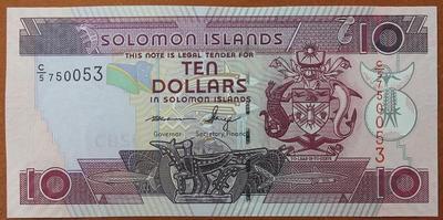 Соломоновы острова 10 долларов 1986 год
