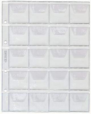 Лист для монет на 20 ячеек. 200 х 250 мм (Optima)