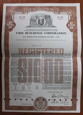 США.Акция Uris Buildings Corporation