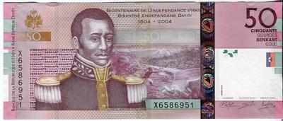 Гаити 50 гурд 2014 год UNC 200 лет Независимости Гаити