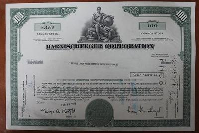 США.Акция Harnischfeger corporation