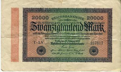 Германия 20000 марок 1923 год VG