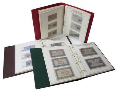 Коллекционный альбом для банкнот в 3-х томах с 1915 - 2015 гг. с изображением банкнот и холдерами под них, формат.Grand