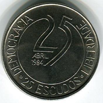 25 эскудо 1984 год 10-летие Революции 25 апреля 1974 года