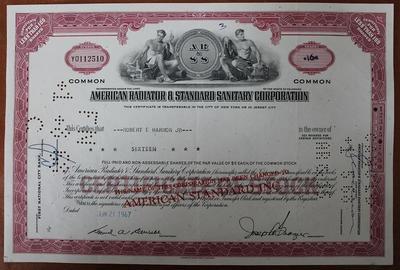 США.Акция American Radiator & Standard Sanitary Corporation
