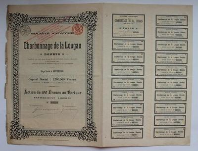 Акция 100 франков 1896 год Charbonnage de la Lougan