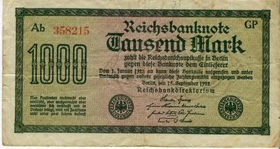 Германия 1000 марок 1922 год