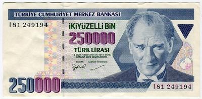 Турция 250000 лир 1970 год