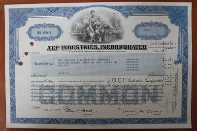 США.Акция ACF Industries,incorporated