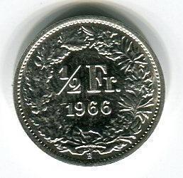 Швейцария 1/2 франка 1966 год