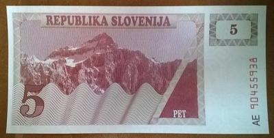 Словения 5 толаров 1990 год