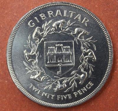 Гибралтар 25 новых пенсов 1977 год