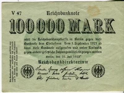 Германия 100000 марок 1923 год
